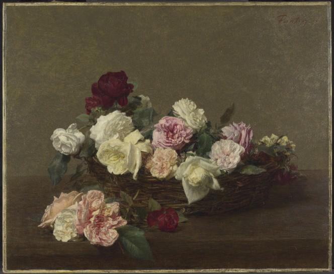 Ignace-Henri-Théodore Fantin-Latour, A Basket of Roses (1890)